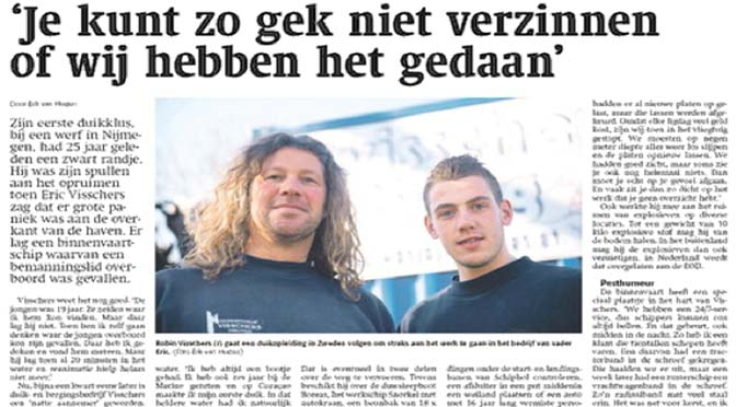 Aqualink-lid Visschers in Weekblad Schuttevaer