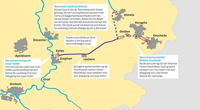 Verruiming Twentekanalen pas einde 2023 gereed